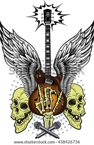 Electric Guitar and Skull