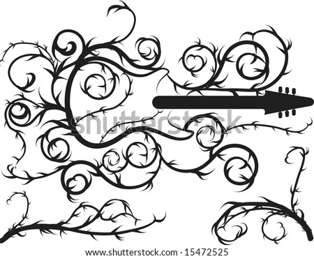 stock vector electric guitar border with roots and leaves plus two design elements one color 15472525 jaguar color codes jaguar find image about wiring diagram,1946 Hudson Wiring Diagram