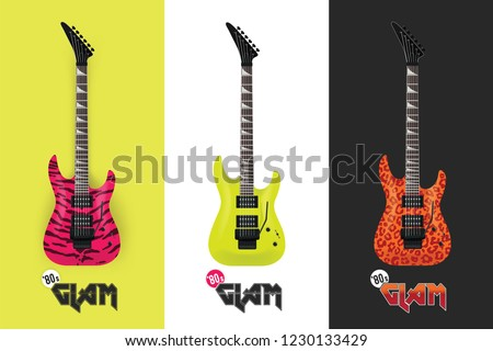 electric guitar glam rock '80s