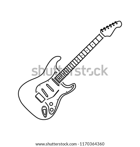 Electric guitar icon. Thin line design. Vector illustration.