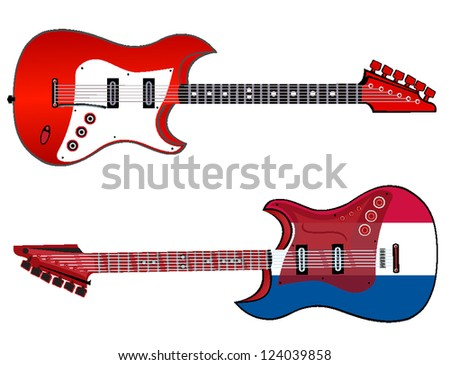 electric guitar made in french style. vector illustration