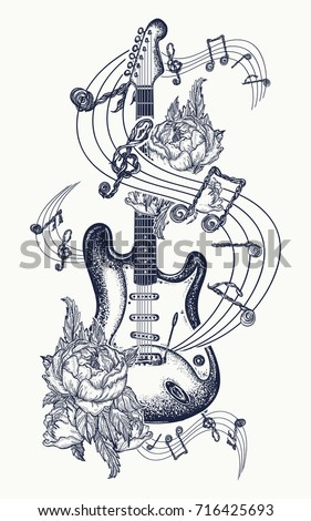 electric guitar  roses and