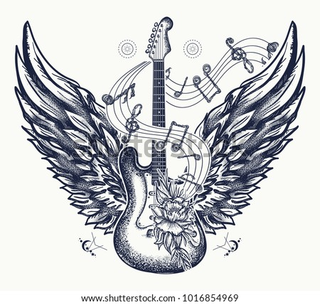 electric guitar  roses  angel