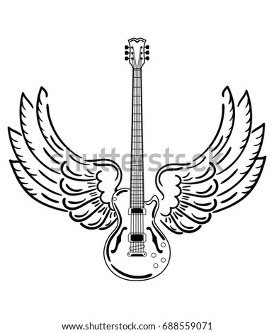 electric guitar with wings