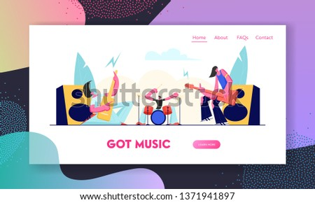 Electric Guitarists and Drummer Performing Music on Stage. Rock Band in Rocking Outfit Playing Guitar and Drums on Concert. Website Landing Page, Web Page. Cartoon Flat Vector Illustration, Banner