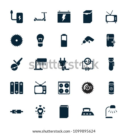 Electric icon. collection of 25 electric filled icons such as washing machine, cooker, clean fridge, blade saw, drill, table lamp. editable electric icons for web and mobile.