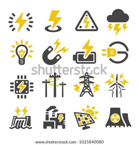 electric icon set