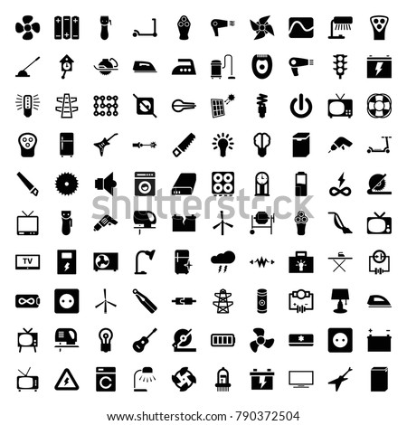 Electric icons. set of 100 editable filled electric icons such as mill, washing machine, kick scooter, plug socket, hair dryer, electric razor, iron, vacuum cleaner