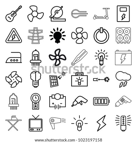 electric icons set of 36