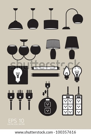 electric icons vector - stock vector
