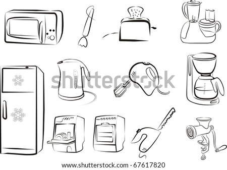 electric kitchen tools and devices set in black outlines - stock vector