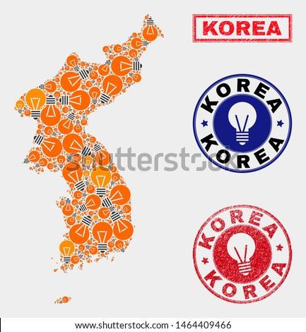 Electric lamp mosaic Korea map and rubber round seals. Mosaic vector Korea map is designed with idea lamp icons. Abstraction for patent business. Orange and red colors used.