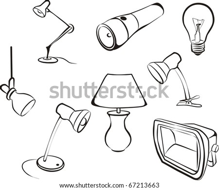 Electric lamps, chandeliers and light bulb set sketch in black lines