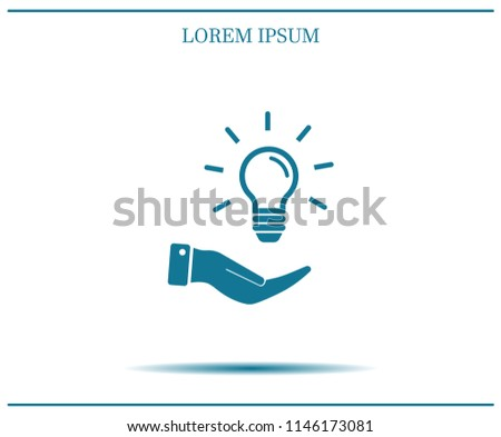 Electric light bulb in the palms, vector icon.