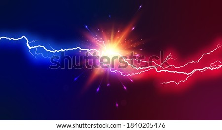 Electric Lightning blue and pink. Concept For Battle, Confrontation Or Fight between two lightning. Abstract Vector Illustration.