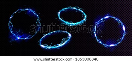 Electric lightning frames, circle digital glowing borders in front and angle view. Vector realistic set of blue round sparking discharge isolated on transparent background