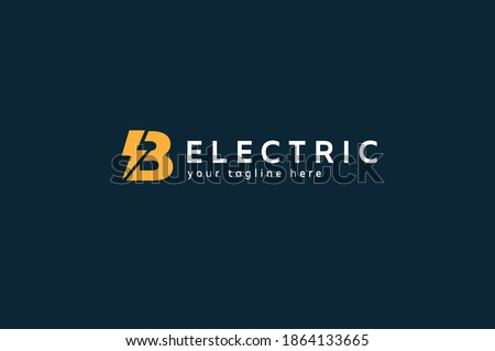Electric Logo, letter B and lightning bolt combination, tunder bolt design logo template, vector illustration Stock fotó ©