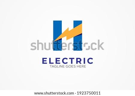 Electric logo, letter H and Thunder bolt combination, tunder bolt design logo template, vector illustration Stock fotó ©
