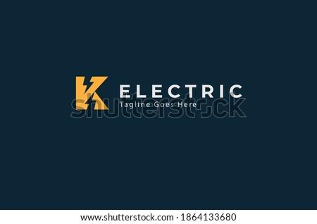 Electric Logo, letter K with lightning bolt icon inside , tunder bolt design logo template, vector illustration Stock fotó ©