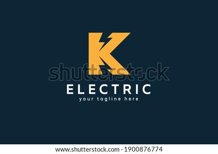 Electric Logo, letter K with lightning bolt icon inside, tunder bolt design logo template, vector illustration Stock fotó ©