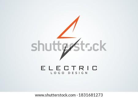 Electric Logo, letter S from and lightning bolt combination, tunder bolt design logo template, vector illustration Stock fotó ©