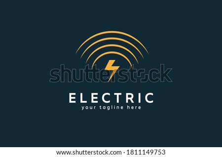 Electric Logo, tunder bolt and wireless combination, flat design logo template, vector illustration Stock fotó ©