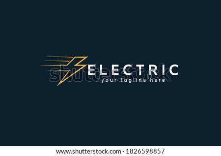 Electric Logo,  tunder bolt design logo template, vector illustration Stock fotó ©