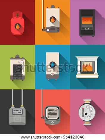 Electric meter,gas meter,gas tank,gas boiler,fireplace,water meter,Stove