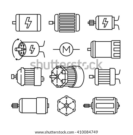 Electric motor vector icons
