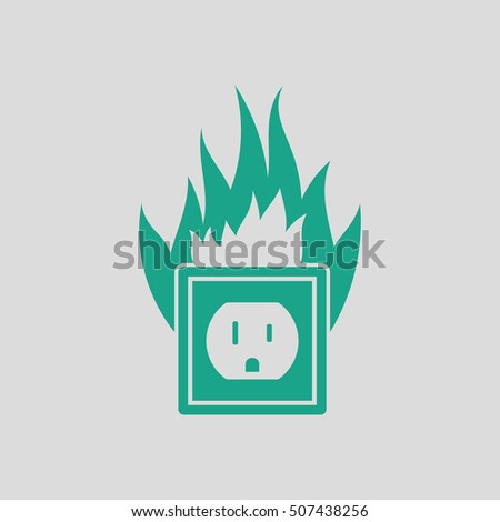 electric outlet fire icon gray