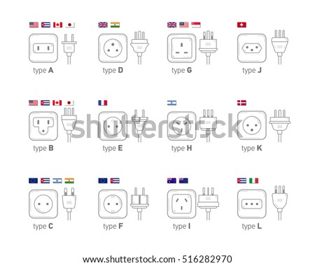 Electric outlet illustration on white background. Different type power socket set, vector isolated icon illustration for different country plugs. Power socket - World standards icons set