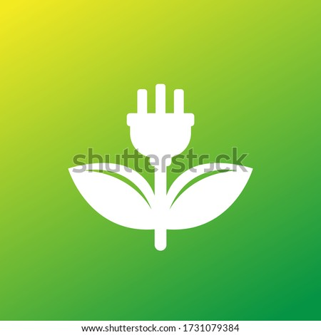 electric plug and green leaves icon, vector