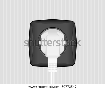 Electric plug and socket on a wall. Vector illustration.