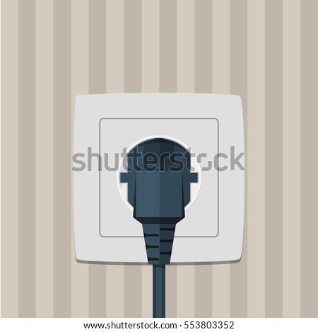 Electric plug and socket on a wall. Vector illustration in flat style