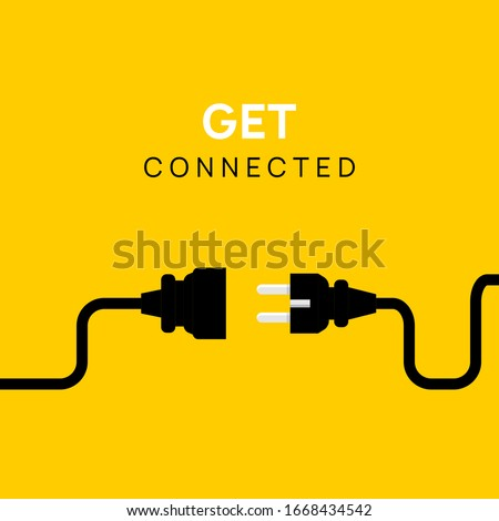 Electric Plug connect concept socket. Get connected or disconnect vector power plug cable illustration. Foto d'archivio ©
