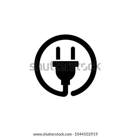 Electric Plug. Flat Vector Icon. Simple black symbol on white background
