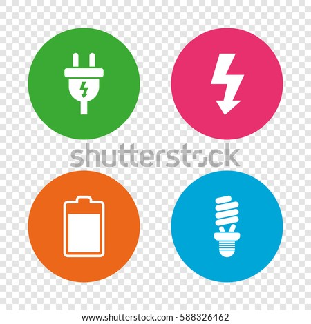 Electric plug icon. Fluorescent lamp and battery symbols. Low electricity and idea signs. Round buttons on transparent background. Vector