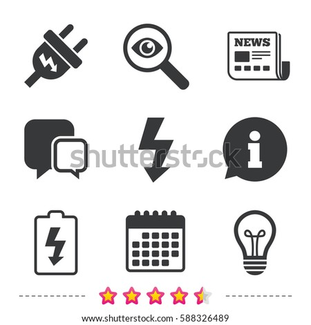 Electric plug icon. Lamp bulb and battery symbols. Low electricity and idea signs. Newspaper, information and calendar icons. Investigate magnifier, chat symbol. Vector