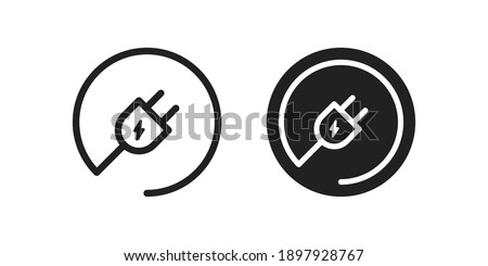 Electric plug round icon. Power cable symbol. Electro cord logo in vector flat style. Foto stock ©