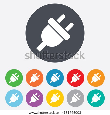 Electric plug sign icon. Power energy symbol. Round colourful 11 buttons. Vector