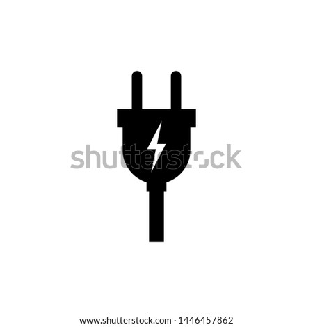 Electric plug vector icon isolated on white background Foto stock ©