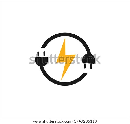 electric plugin in circle loop with electric symbol vector icon logo design template for renewable electric power source Stockfoto ©