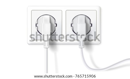Electric plugs and socket. Realistic white plugs inserted in electrical outlet, isolated on white background. Icon of device for connecting electrical appliances, equipment. Vector 3D illustration.