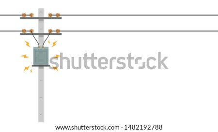 electric pole vector. electric leakage. wallpaper. free space for text. copy space.