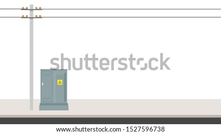 Electric pole vector. electric pole on white background. free space for text. copy space. Electrical cabinet vector.