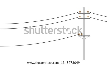 electric pole vector. electric pole on white background. free space for text. wallpaper. copy space.