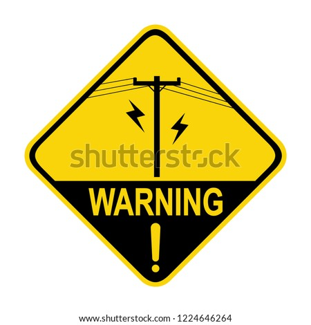 Electric pole warning sign. Symbol, vector