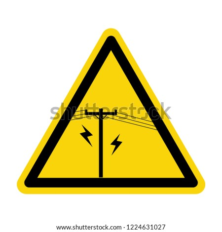 Electric pole warning sign. Symbol, vector, illustration