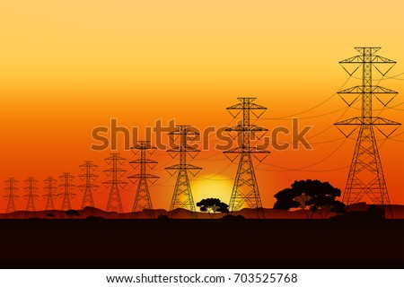 electric post and sunrise landscape graphic vector