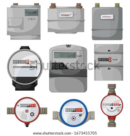 Electric power, gas, water meter vector cartoon set icon. Vector illustration counter on white background. Isolated vector cartoon set icon electric power, gas, water meter.